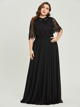 Scoop Neck Short Sleeves A Line Black Evening Dress