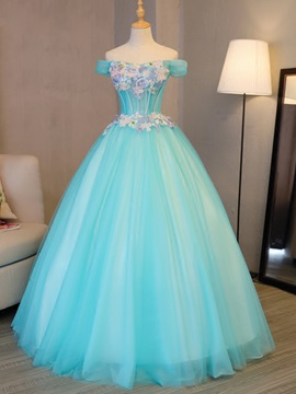 Flowers Off-the-Shoulder Embroidery Pearls Quinceanera Dress