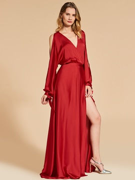 V-Neck A-Line Long Sleeves Split-Front Evening Dress