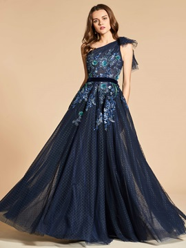 A-Line One-Shoulder Lace Sleeveless Evening Dress