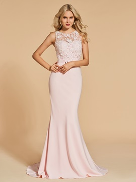 Bowknot Lace Mermaid Scoop Sweep Train Evening Dress