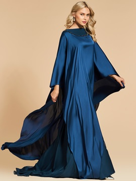 Bateau A-Line Beading Long Sleeves Evening Dress