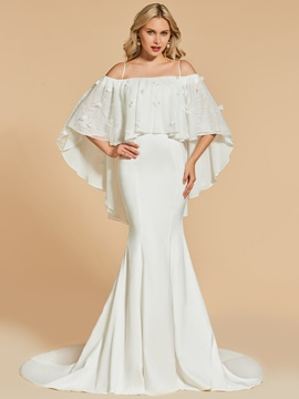 Lace Trumpet Off-the-Shoulder Sweep Train Evening Dress