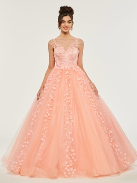Empire Flowers Lace Floor-Length Quinceanera Dress