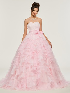 Sweetheart Bowknot Cascading Ruffles Quinceanera Dress