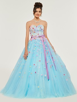 Sweetheart Sashes Flowers Quinceanera Dress