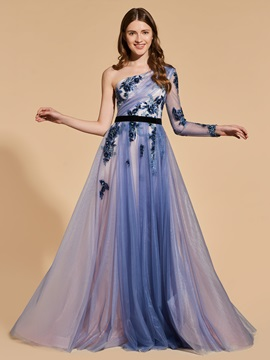 One-Shoulder Long Sleeve Sequins Appliques Prom Dress