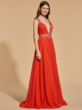 A-Line Empire V-Neck Beading Prom Dress
