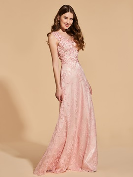 Appliques Beading Button Lace Prom Dress