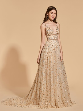 A-Line Beading Empire Lace V-Neck Prom Dress