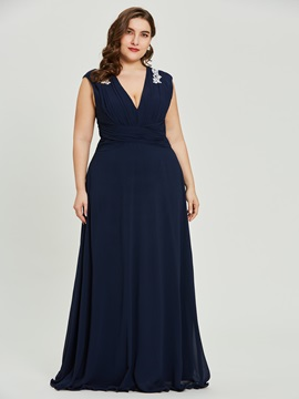 V-Neck Sleeveless A-Line Plus Size Evening Dress