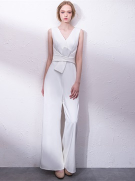 A-Line V-Neck Evening Pleats Jumpsuits