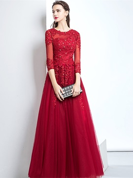 A-Line Appliques Scoop Beaded Evening Dress