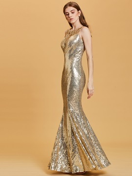 Scoop Neck Sequins Mermaid Evening Dress