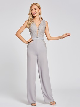 V Neck Zipper-Up Lace Appliques Jumpsuits