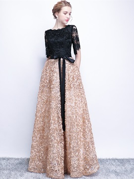 A-Line Half Sleeves Scoop Lace Sashes Evening Dress