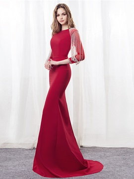 Mermaid Beading Bateau Tassel Evening Dress