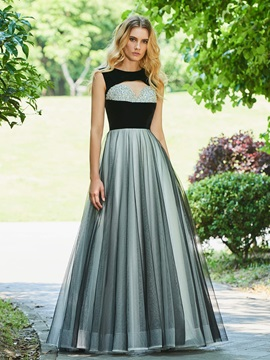 A-Line Beading Scoop Cap Sleeves Evening Dress