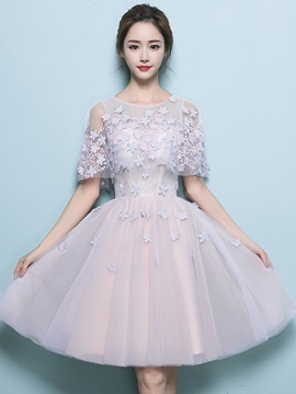 A-Line Lace Scoop Multi Color Homecoming Dress
