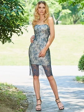 Sheath Sweetheart Lace Cocktail Dress