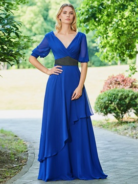 Chiffon Evening Dress with Half Sleeves