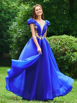 A-Line V-Neck Appliques Flowers Prom Dress