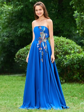 A-Line Strapless Embroidery Prom Dress