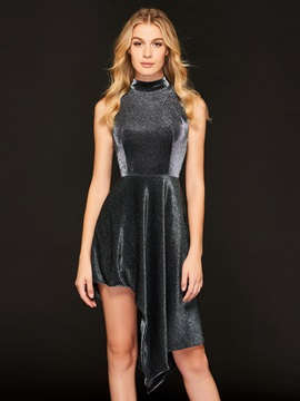 A-Line High Neck High Low Cocktail Dress