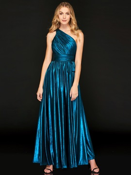 Simple A-Line One-Shoulder Pleats Evening Dress