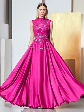 A-Line High Neck Beading Bowknot Button Evening Dress