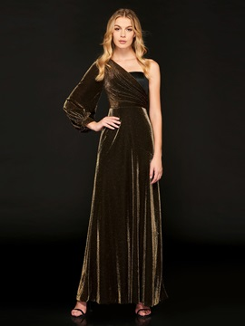 One-Shoulder Empire A-Line Split-Front Evening Dress