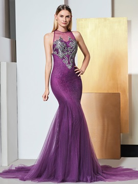 Mermaid Scoop Appliques Lace Evening Dress
