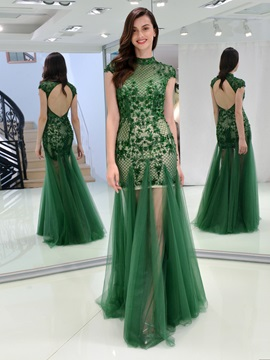 Sheath High Neck Appliques Beading Evening Dress