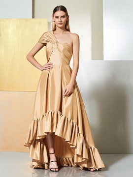 One-Shoulder A-Line Pleats Ruched High Low Prom Dress