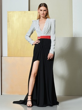 A-Line Multi Color V-Neck Sashes Evening Dress