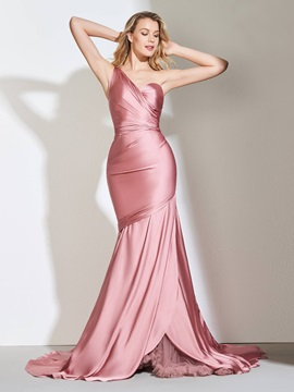 One-Shoulder Trumpet Pleats Evening Dress