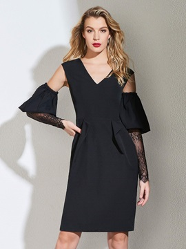 Sheath Hollow Lace V-Neck Cocktail Dress