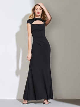 High Neck Sheath Cap Sleeves Black Evening Dress