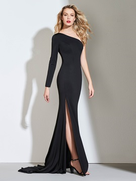Sheath One-Shoulder Side-Split Evening Dress