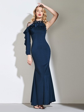 Trumpet Scoop Button Beaded Ruffles Evening Dress