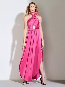 A-Line Halter Backless Pleats Prom Dress