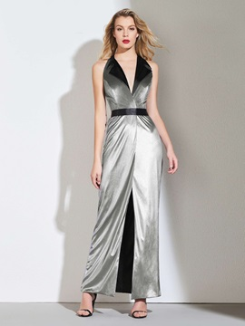 A-Line V-Neck Split-Front Sashes Evening Dress