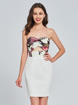Sheath Sweetheart Printed Mini Homecoming Dress