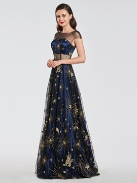 A-Line Pleats Scoop Lace Evening Dress