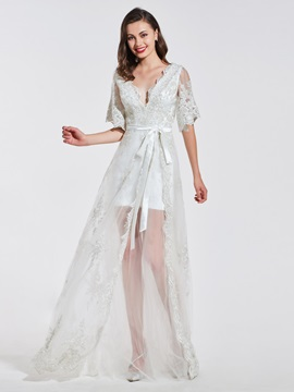 A-Line Lace V-Neck Sashes Evening Dress
