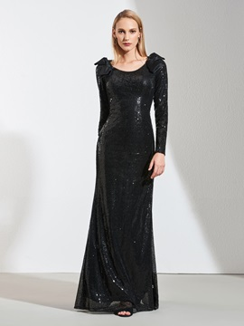 Scoop A-Line Sequins Bowknot Evening Dress