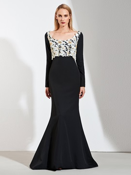 Mermaid Lace Square Beaded Evening Dress