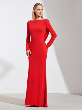 Sheath Bateau Beading Long Sleeves Evening Dress