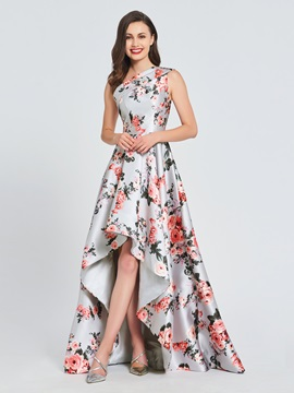 A-Line One-Shoulder Printing High Low Prom Dress 2019