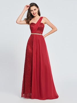 A-Line One-Shoulder Lace Long Prom Dress